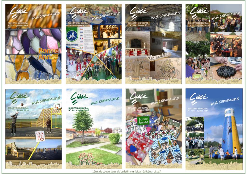 Les 1ères de couverture du Bulletin municipal de Cissé - N°109 à 116